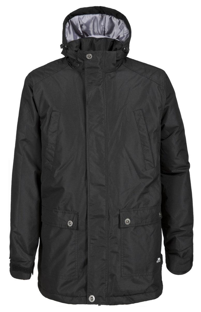 Куртка мужская Trespass Farvel, цвет: черный. MAJKCAL20003. Размер S (48)MAJKCAL20003Великолепная теплая куртка для русской зимы Trespass Farvel выполнена в стиле casual. Утеплитель ColdHeat 200 г/м2 (синтетический, микроволоконный с функцией быстрого отвода влаги и высоким уровнем теплозащиты и износостойкости). Каждый простроченный шов от иглы оставляет сотни отверстий, через которые влага может проникать внутрь куртки. Применение технологии Taped Seams - обработка швов термо-пластичесткой лентой под высоким давлением - запечатывает швы, тем самым препятствуя проникновению влаги внутрь куртки, дополнительно обеспечивая вашему телу сухость и комфорт. Материал верха защищает от влаги (влагозащита - 5 000мм) и имеет дополнительное усиление от разрыва. Утепленный регулируемый капюшон. Прекрасно подойдет как для города, так и для отдыха на природе.