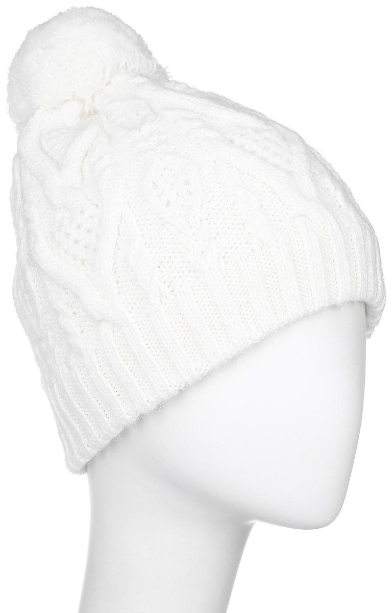 Шапка женская Finn Flare, цвет: белый. W16-11120_201. Размер 56W16-11120_201Стильная женская шапка Finn Flare дополнит ваш наряд и не позволит вам замерзнуть в холодное время года. Шапка выполнена из высококачественной пряжи, что позволяет ей великолепно сохранять тепло и обеспечивает высокую эластичность и удобство посадки. Модель оформлена брендовой металлической пластиной и дополнена пушистым помпоном.