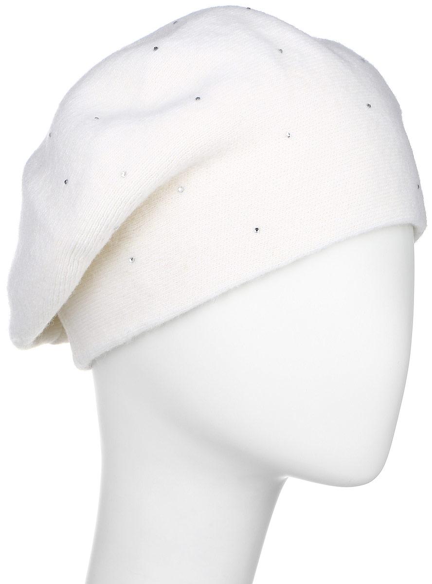 Берет женский Finn Flare, цвет: молочный. W16-11122_711. Размер 56W16-11122_711Элегантный берет Finn Flare, выполненный из шерсти с добавлением нейлона отлично дополнит ваш образ в холодную погоду. Сочетание материалов максимально сохраняет тепло и обеспечивает удобную посадку. Модель выполнена в лаконичном стиле и оформлена небольшим декоративным элементом в виде металлической пластины с названием бренда и стразами спереди.