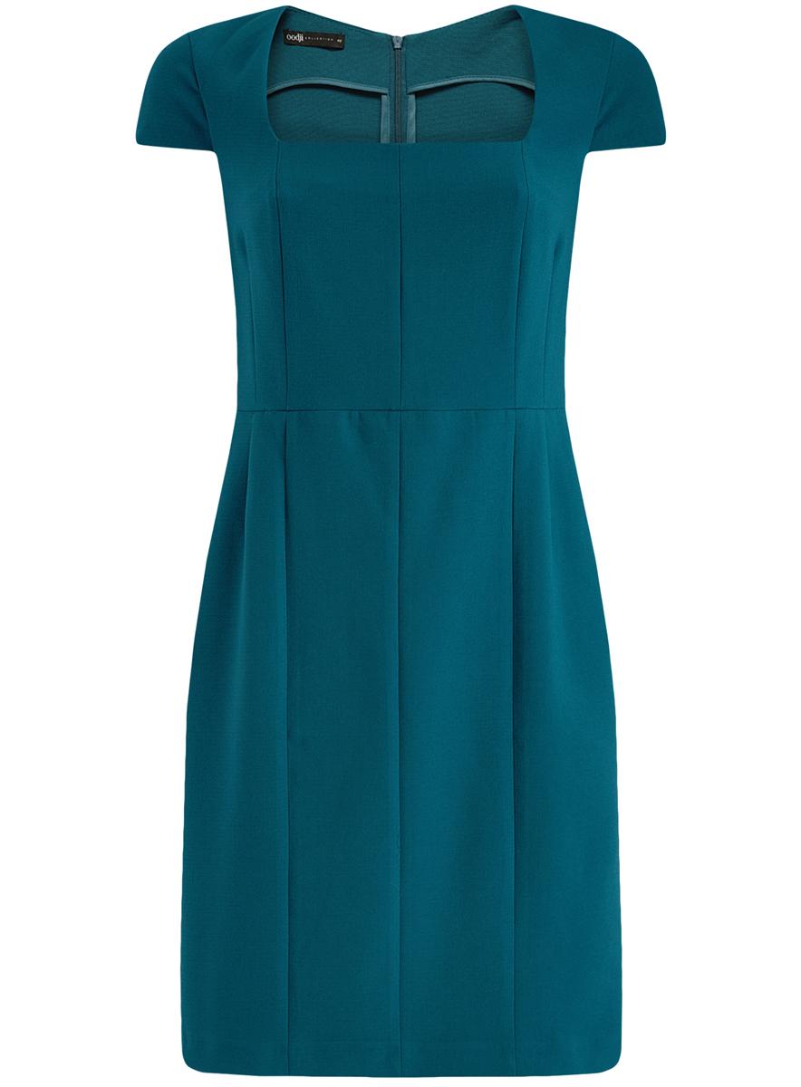 Платье oodji Collection, цвет: синий. 21902065/31291/7400N. Размер 42 (48-170)21902065/31291/7400NЖенское приталенное платье-футляр oodji имеет квадратный вырез воротника, рукава-крылышки и шлицу сзади. Застегивается на молнию на спинке. Выполнено из плотной ткани.