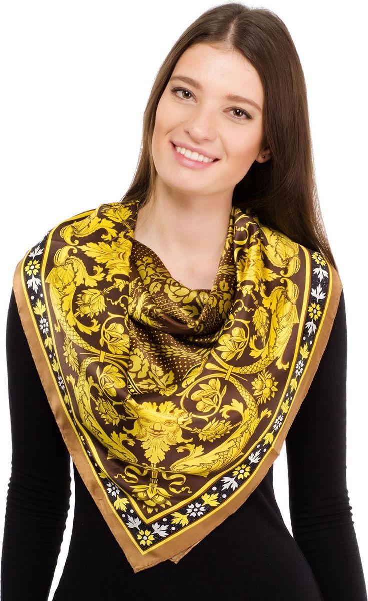 Платок женский Laccom, цвет: коричневый, желтый. 1111. Размер 90 см х 90 см1111OПлаток от Laccom, выполненный из высококачественного материала, приятный на ощупь и подойдет к любому стилю. Платок оформлен стильным узором.
