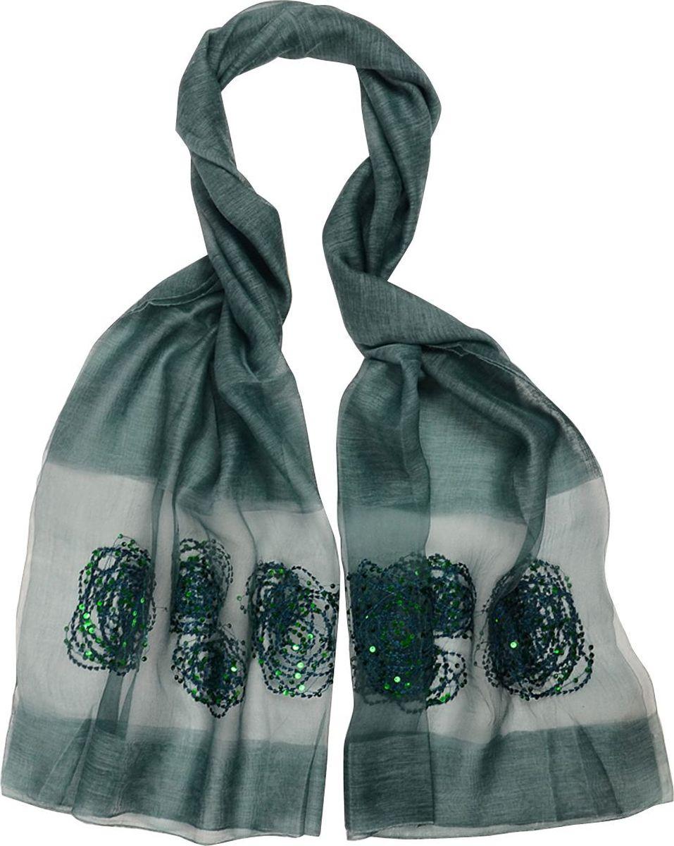 Палантин Laccom, цвет: зеленый. 3103. Размер 190 см х 85 см3103EПалантин от Laccom, выполненный из высококачественного материала, приятный на ощупь и подойдет к любому стилю. палантин декорирован пайетками.