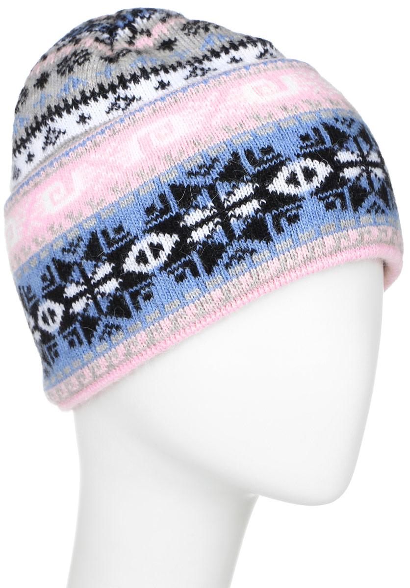 Шапка женская Finn Flare, цвет: белый, голубой, розовый, черный. W16-12119_200. Размер 56W16-12119_200Стильная женская шапка Finn Flare дополнит ваш наряд и не позволит вам замерзнуть в холодное время года. Шапка выполнена из высококачественной пряжи, что позволяет ей великолепно сохранять тепло и обеспечивает высокую эластичность и удобство посадки.Модель связана узорами и оформлена брендовой металлической пластиной.