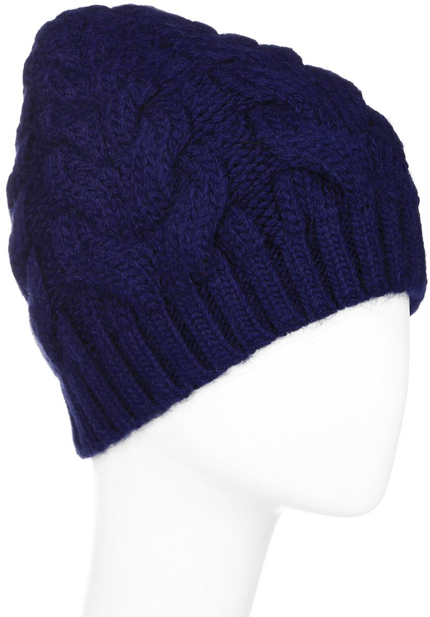 Шапка женская Finn Flare, цвет: темно-синий. W16-32125_101. Размер 56W16-32125_101Стильная женская шапка Finn Flare дополнит ваш наряд и не позволит вам замерзнуть в холодное время года. Шапка выполнена из высококачественной пряжи, что позволяет ей великолепно сохранять тепло и обеспечивает высокую эластичность и удобство посадки.Модель оформлена металлической брендовой нашивкой.