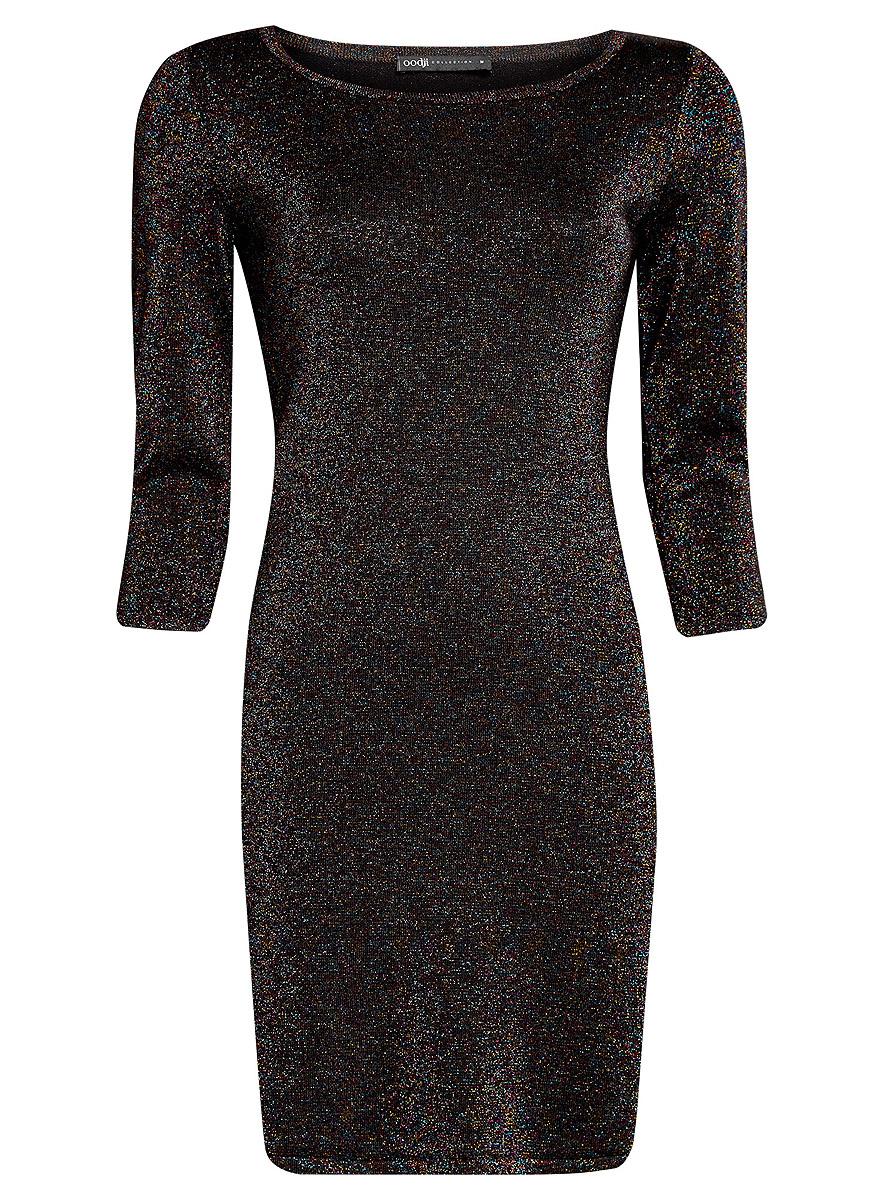 Платье oodji Collection, цвет: черный металлик. 73912219/45965/2900X. Размер S (44)73912219/45965/2900XМодное платье oodji Collection станет отличным дополнением к вашему гардеробу. Модель выполнена из качественного комбинированного материала с добавлением блестящего люрекса. Платье-миди с круглым вырезом горловины и рукавами длинной 3/4 выполнено в лаконичном дизайне.