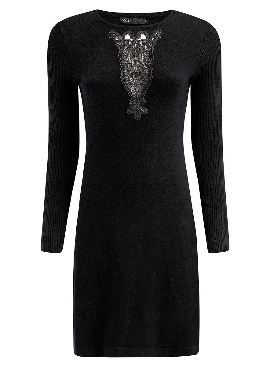 Платье oodji Collection, цвет: черный. 73912220/33506/2900N. Размер XL (50)73912220/33506/2900NСтильное платье oodji Collection, выполненное из вискозы с добавлением полиамида, отлично дополнит ваш гардероб. Модель-миди приталенного силуэта имеет круглый вырез горловины и длинные рукава, связанные резинкой. Грудь декорирована ажурной вставкой.