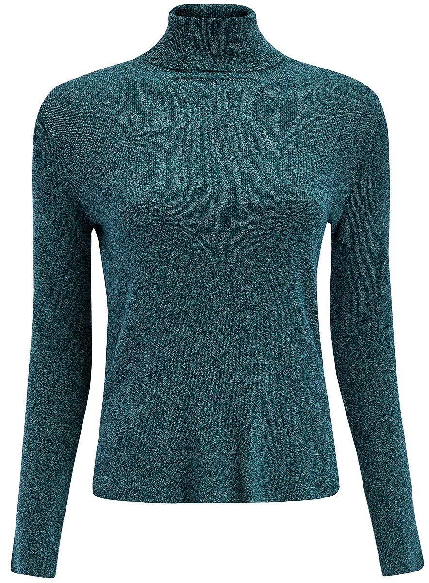 Водолзка женская oodji Ultra, цвет: зеленый, темно-синий. 64412191/31644/796EM. Размер XS (42)64412191/31644/796EMЖенская водолазка выполнена из 100% хлопка. Модель с воротником-гольф и длинными рукавами по бокам имеет небольшие разрезы. Спинка модели немного удлинена.