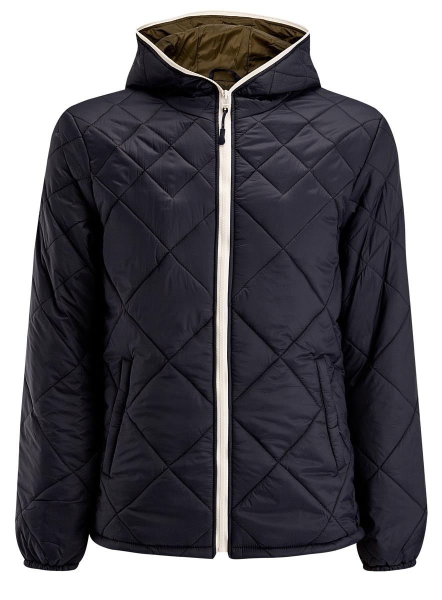 Куртка мужская oodji, цвет: темно-синий. 1L112013M/25855N/7900N. Размер XXL (58-182)1L112013M/25855N/7900NМужская куртка oodji выполнена из полиамида. В качестве подкладки используется полиамид, а утеплителем служит 100% полиэстер. Модель с несъемным капюшоном застёгивается на застежку-молнию.Низ рукавов присобран на резинку. В боковых швах обработаны небольшие разрезы на кнопках. Спереди расположено два прорезных кармана на кнопках, а с внутренней стороны - прорезной карман на кнопке.