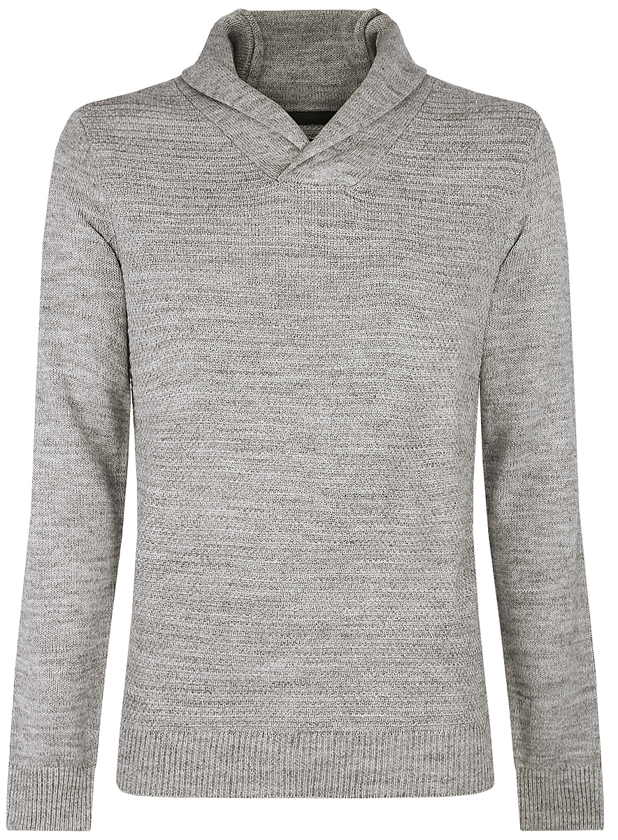 Пуловер мужской oodji, цвет: серый. 4L210006M/25700N/2000M. Размер XXL (58/60)4L210006M/25700N/2000MСтильный мужской пуловер выполнен из акрила и шерсти. Модель с отложным воротником и длинными рукавами.