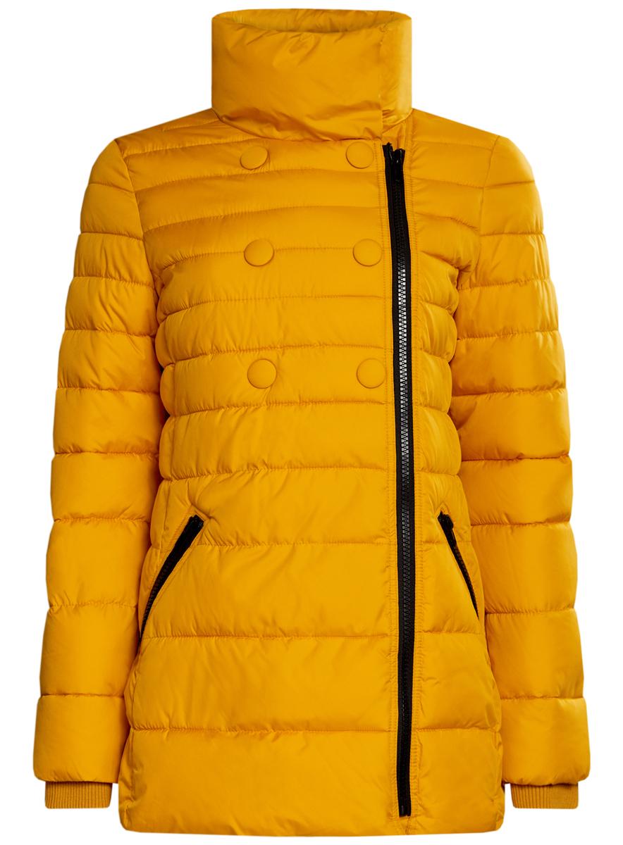 Куртка женская oodji Ultra, цвет: горчичный. 10201032-2/32754/5200N. Размер 40 (46-170)10201032-2/32754/5200NЖенская куртка oodji Ultra выполнена из 100% полиэстера. В качестве подкладки и утеплителя также используется полиэстер. Модель с воротником-стойкой застегивается на асимметричную застежку-молнию и дополнительно на кнопки. Низ рукавов дополнен внутренними эластичными манжетами. Спереди расположено два прорезных кармана на застежках-молниях.