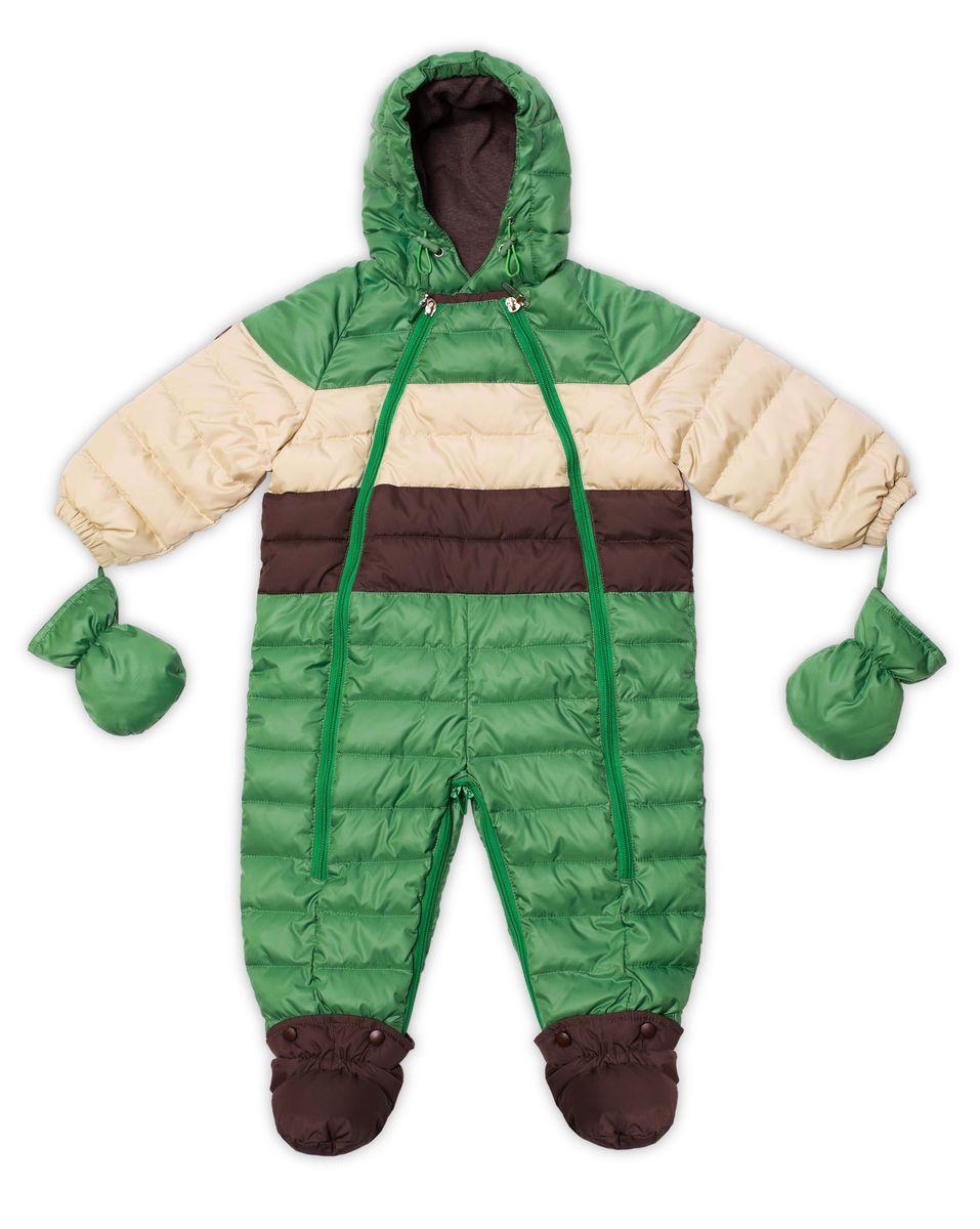 Комбинезон-трансформер для мальчика Ёмаё, цвет: зеленый, молочный, коричневый. 22-103. Размер 6822-103Практичный комбинезон-трансформер Ёмаё выполнен из курточной ткани и утеплен синтепоном. Модель со съемными варежками и пинетками. Несъемный капюшон оснащен вставкой. Спереди предусмотрена двойная застежка-молния для удобства переодевания малыша. Пинетки крепятся на застежки-кнопки. Комбинезон рассчитан на температуру до -15°С. Наполнитель: синтепух, 220 г/м3;