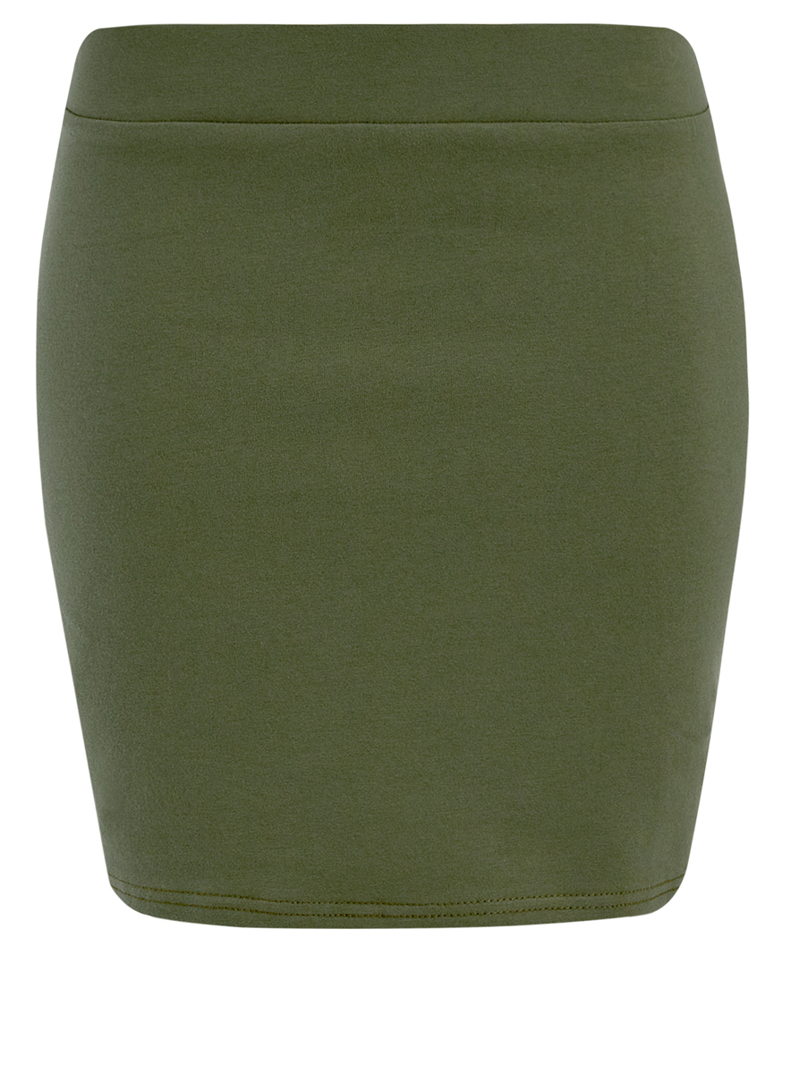 Юбка oodji Ultra, цвет: темно-зеленый. 14101001B/46159/6900N. Размер XS (42)14101001B/46159/6900NТрикотажная юбка oodji Ultra прилегающего кроя выполнена из хлопка с добавлением полиуретана. Модель мини-длины с поясом на широкой эластичной резинке выгодно подчеркнет достоинства фигуры.