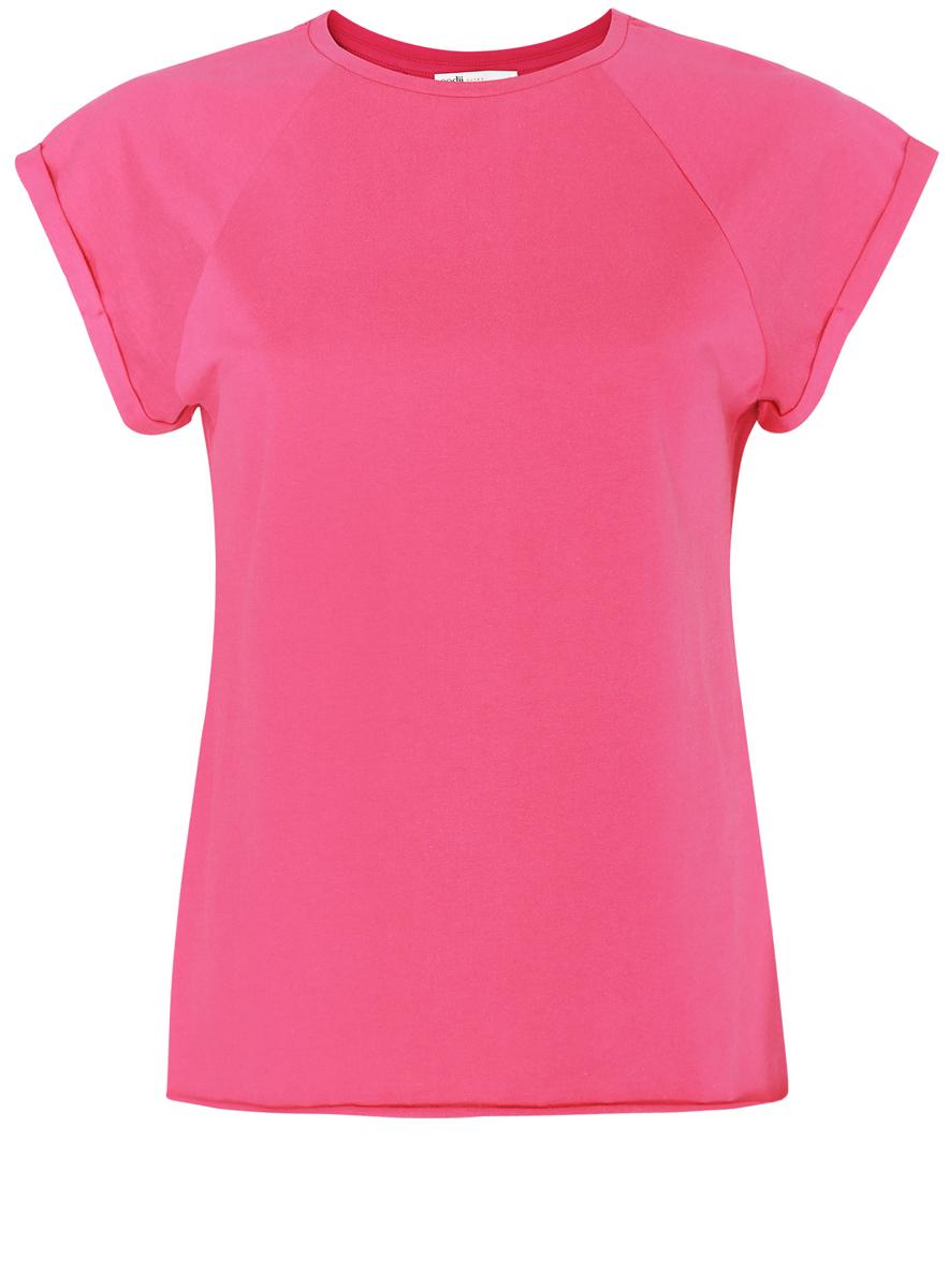 Футболка женская oodji Ultra, цвет: розовый. 14707001-4B/46154/4D00N. Размер L (48)14707001-4B/46154/4D00NЖенская футболка выполнена из хлопка. Модель с круглым вырезом горловины и короткими рукавами реглан, дополненными отворотом.