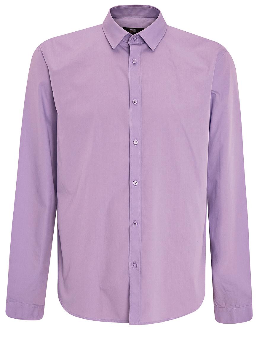 Рубашка мужская oodji Basic, цвет: сиреневый. 3B110012M/23286N/8000N. Размер 41 (50-182)3B110012M/23286N/8000NСтильная мужская рубашка oodji Basic выполнена из натурального хлопка. Модель с отложным воротником и длинными рукавами застегивается на пуговицы спереди.