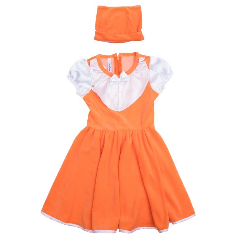 Платье для девочки PlayToday, цвет: оранжевый, белый. 462015. Размер 128462015Стильное платье для девочки - полноценный костюм лисички, не уступающий в удобстве базовым хлопковым платьям! Платье с короткими рукавами и круглым вырезом горловины выполнено из нежного велюра с контрастной сатиновой отделкой рукавов, воротника и подола, создающей эффект многослойности. Изделие застегивается на потайную молнию на спине и дополнено широким поясом, завязывающимся в большой бант. Рукава-фонарики на мягкой резинке. В комплект с платьем входит шапка с декоративными ушками, чтобы завершить нарядный образ.