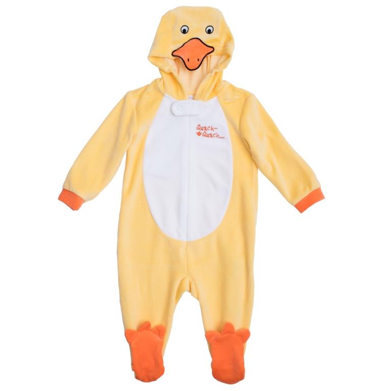 Комбинезон для мальчика PlayToday Baby, цвет: оранжевый, белый. 467802. Размер 74467802Удобный комбинезон для мальчика, выполненный из велюра, - это полноценный наряд утенка, не уступающий обычным комбинезонам по функциональности. Комбинезон с длинными рукавами и закрытыми ножками застегивается на молнию и кнопку спереди, что помогает легко переодеть ребенка или сменить подгузник. Манжеты рукавов выполнены из эластичной трикотажной резинки. Капюшон оформлен аппликацией в виде мордочки утки, внизу носки в виде лапок.