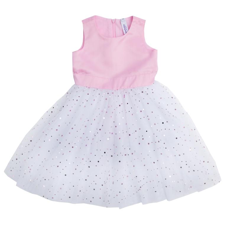 Платье для девочки PlayToday Baby, цвет: белый, розовый. 468004. Размер 86468004Пышное платье без рукавов создано для настоящей принцессы! Верх платья без рукавов выполнен из сатина с легким матовым блеском и застегивается на потайную молнию на спине. Пышная юбка изготовлена из легкого сетчатого материала и оформлена россыпью сверкающих пайеток разных размеров. Модель дополнена широким поясом, завязывающимся в большой бант.