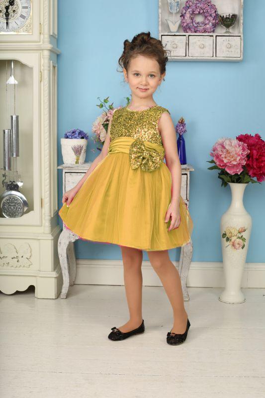Платье для девочки Sweet Berry, цвет: бежевый, золотой. 185923. Размер 98, 3 года