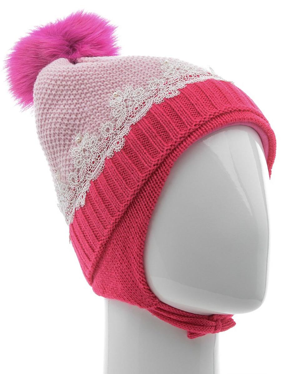 Шапка для девочки Nota Bene, цвет: светло-розовый, фуксия. AW15008-303. Размер S (48/50)AW15008-303Вязаная шапка для девочки Nota Bene выполнена из высококачественной комбинированной пряжи из акрила с добавлением шерсти. Наполнитель изготовлен из полиэстера, подкладка изделия выполнена из натурального хлопка. Модель дополнена небольшими ушками с завязками. Шапка украшена одним помпоном на макушке, кружевным гипюром и жемчужными бусинами. Уважаемые клиенты! Обращаем ваше внимание на тот факт, что размер, доступный для заказа, является обхватом головы.