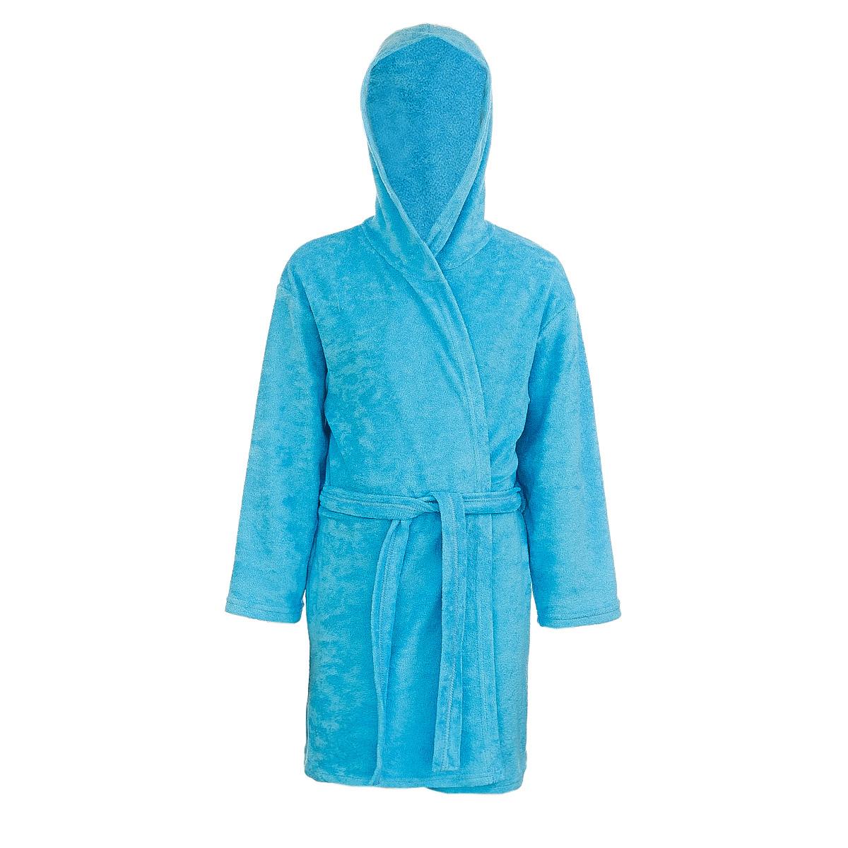 Халат детский M&D, цвет: голубой. Х70510. Размер 134Х70510Мягкий и пушистый халат от фирмы M&D выполнен из хлопка с добавлением полиэстера, приятен к телу и износоустойчив.Халат можно носить по дому или надевать выходя из ванной. Ткань хорошо впитывает влагу и быстро сохнет. Модель с капюшоном и длинными рукавами оснащена шлёвками и поясом.Изделие понравится ребенку, подарит ему тепло, комфорт и уют.
