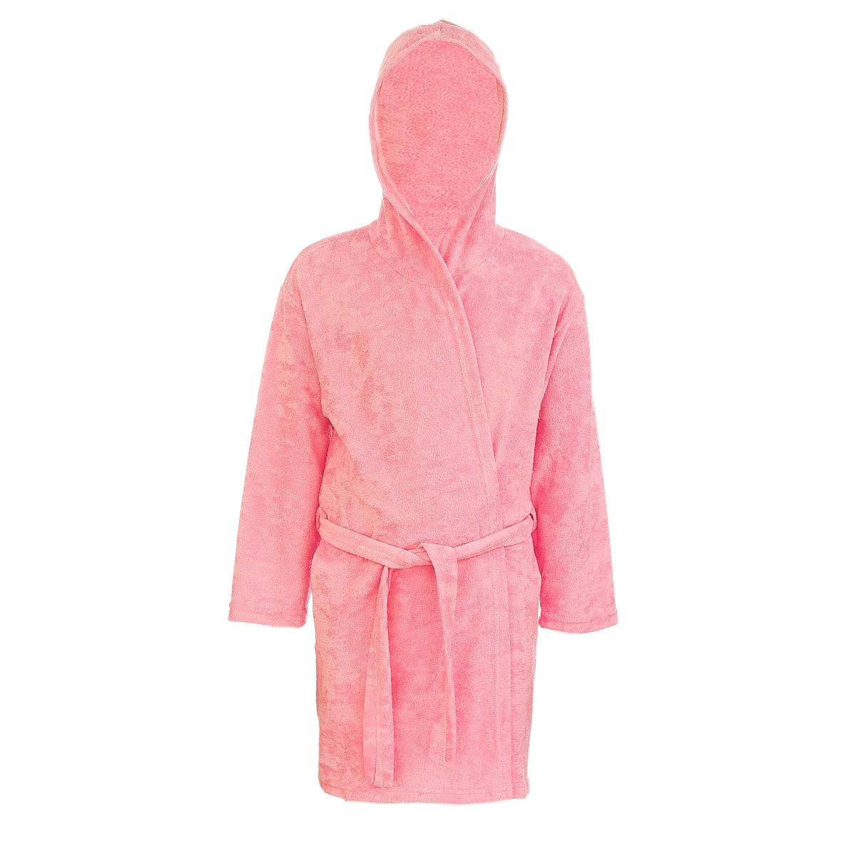Халат детский M&D, цвет: розовый. Х70505. Размер 140Х70505Мягкий и пушистый халат от фирмы M&D выполнен из хлопка с добавлением полиэстера, приятен к телу и износоустойчив.Халат можно носить по дому или надевать выходя из ванной. Ткань хорошо впитывает влагу и быстро сохнет. Модель с капюшоном и длинными рукавами оснащена шлёвками и поясом.Изделие понравится ребенку, подарит ему тепло, комфорт и уют.