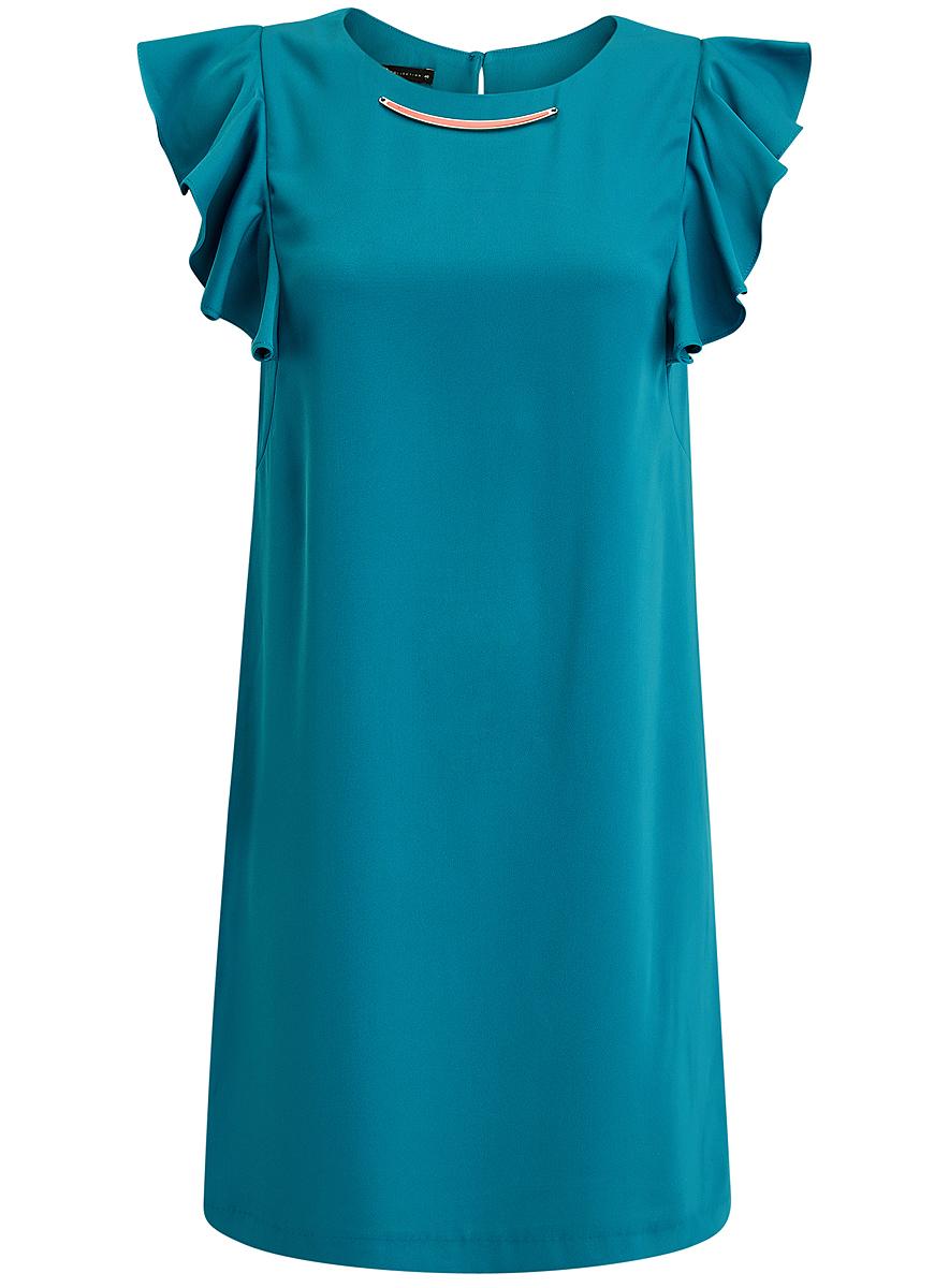 Платье oodji Collection, цвет: бирюзовый. 21909002/42720/7300N. Размер 40 (46-170)21909002/42720/7300NПлатье oodji Collection выполнено из эластичного полиэстера. Укороченная модель без рукавов имеет круглый вырез горловины. Платье застегивается на пуговицу на спинке. На плечах расположены вставки с крупными воланами, под горловиной платье украшено металлическим декоративным элементом.