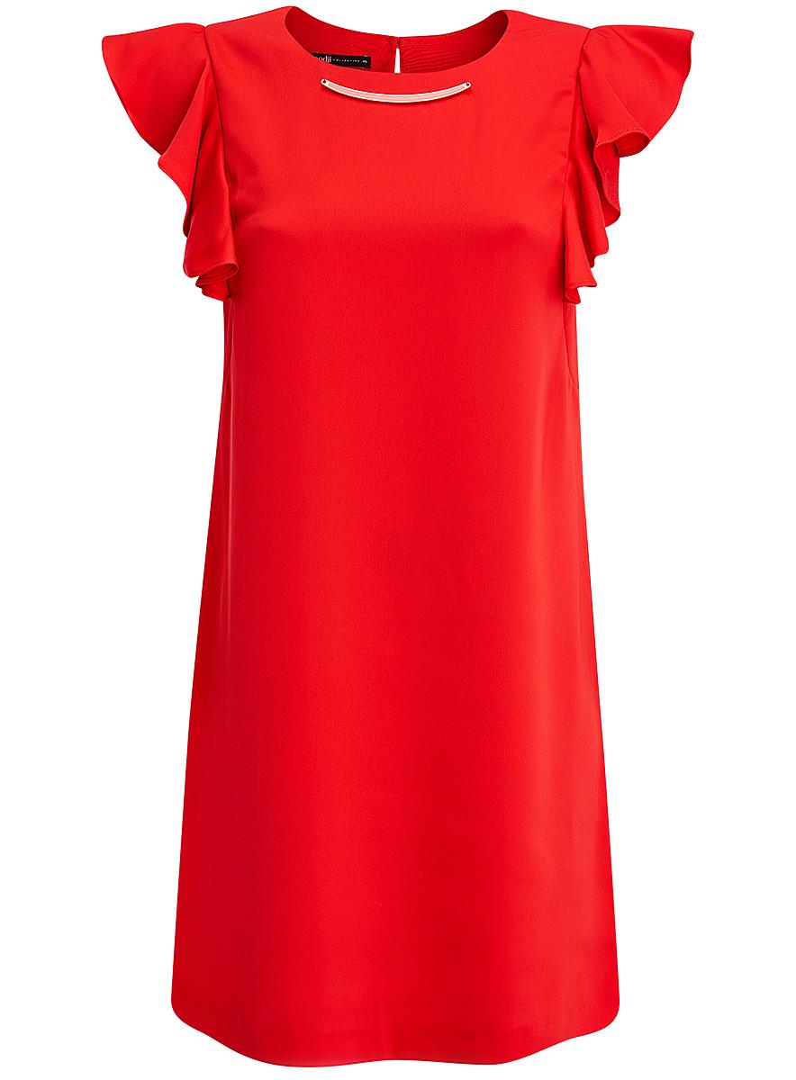 Платье oodji Collection, цвет: красный. 21909002/42720/4500N. Размер 40 (46-170)21909002/42720/4500NПлатье oodji Collection выполнено из эластичного полиэстера. Укороченная модель без рукавов имеет круглый вырез горловины. Платье застегивается на пуговицу на спинке. На плечах расположены вставки с крупными воланами, под горловиной платье украшено металлическим декоративным элементом.