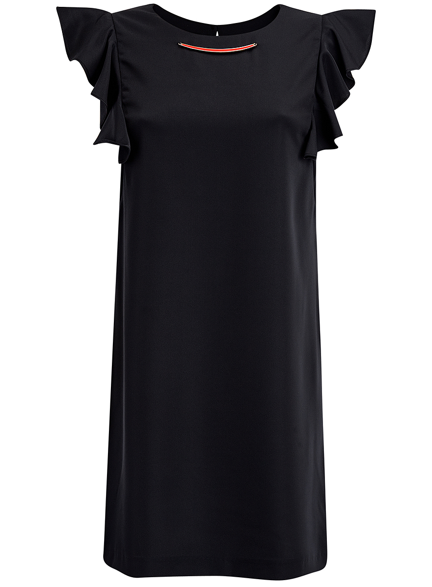 Платье oodji Collection, цвет: черный. 21909002/42720/2900N. Размер 42 (48-170)21909002/42720/2900NПлатье oodji Collection выполнено из эластичного полиэстера. Укороченная модель без рукавов имеет круглый вырез горловины. Платье застегивается на пуговицу на спинке. На плечах расположены вставки с крупными воланами, под горловиной платье украшено металлическим декоративным элементом.