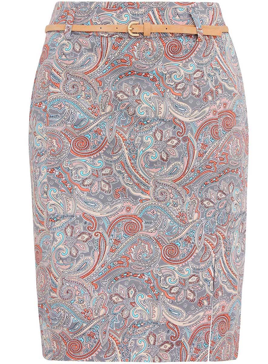 Юбка oodji Collection, цвет: серый, коралловый, бежевый. 21601273-1/14522/2041E. Размер 36 (42-170)21601273-1/14522/2041EЮбка oodji Collection выполнена из хлопка с добавлением эластана. Подкладка изделия изготовлена из тонкой гладкой ткани. Юбка-карандаш застегивается сзади на скрытую молнию. В поясе модель дополнена узким ремешком на шлевках. Спереди имеется разрез. Юбка оформлена принтом с узорами.