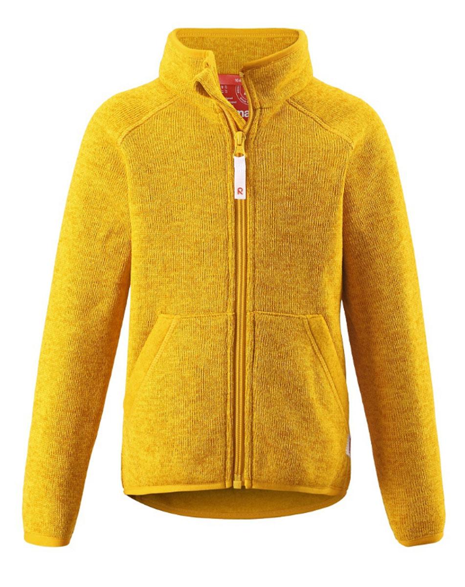 Толстовка детская Reima Hopper, цвет: желтый. 526240-2320. Размер 128526240_2320Толстовка Reima Hopper займет достойное место в детском гардеробе. Толстовка выполнена из полиэстера, необычайно мягкая и тактильно приятная. Лицевая сторона изделия вязаная, изнаночная с теплым начесом. Материал отлично сохраняет тепло, дает ощущение комфорта и быстро сохнет, выводя влагу в наружные слои.Толстовка с воротником-стойкой и длинными рукавами-реглан застегивается на пластиковую молнию с защитой подбородка. Края воротника, рукавов и низ изделия дополнены эластичной окантовкой. Спинка модели удлинена. Спереди расположены два накладных кармана. Толстовка выполнена в модном однотонном стиле, украшена фирменной нашивкой.Стильный дизайн и высокое качество исполнения принесут удовольствие от покупки и подарят отличное настроение! Такая толстовка - идеальный выбор для активных развлечений на свежем воздухе!