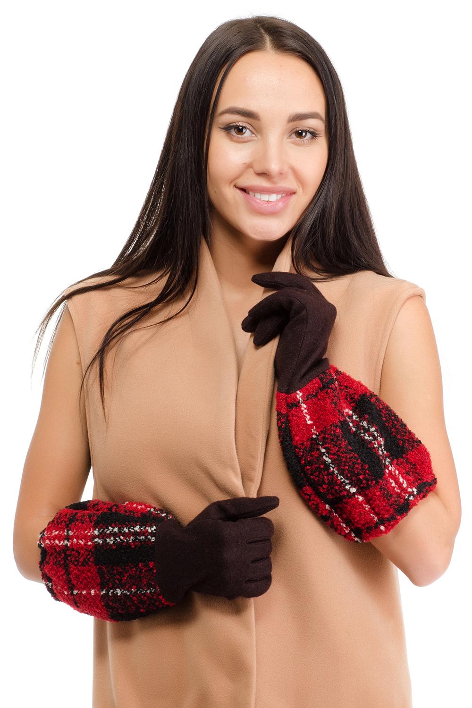 Перчатки женские Moltini, цвет: красный, темно-коричневый. 95018-12C. Размер 7/7,595018-12CЖенские перчатки Moltini выполнены из шерсти с добавлением ангоры и нейлона. Перчатки имеют удлиненные манжеты, оформленные узором в клетку.