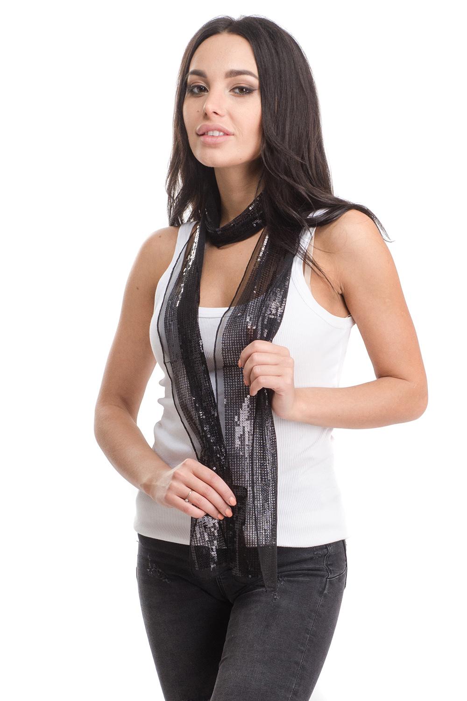 Шарф женский Moltini, цвет: черный. 4B-1630. Размер 170 см х 10 см4B-1630Женский шарф Moltini изготовлен из нейлона с добавлением пластика. Тонкий легкий шарф из сетчатой ткани украшен пайетками.