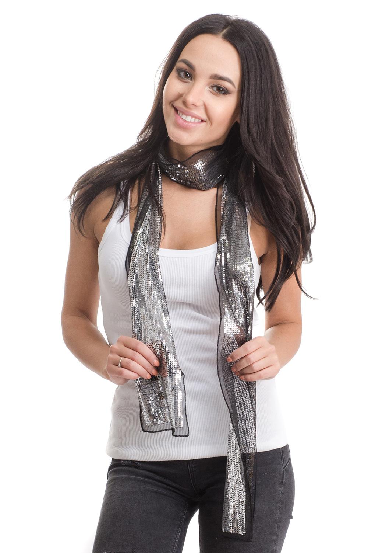 Шарф женский Moltini, цвет: черный, серебристый. 4B-1620. Размер 170 см х 10 см4B-1620Женский шарф Moltini изготовлен из нейлона с добавлением пластика. Тонкий легкий шарф из сетчатой ткани украшен пайетками.