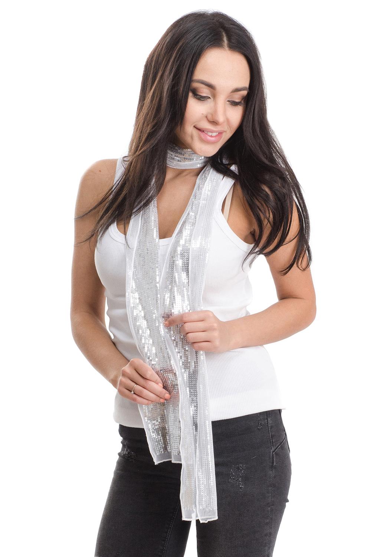 Шарф женский Moltini, цвет: белый. 4A-1630. Размер 170 см х 10 см4A-1630Женский шарф Moltini изготовлен из нейлона с добавлением пластика. Тонкий легкий шарф из сетчатой ткани украшен пайетками.
