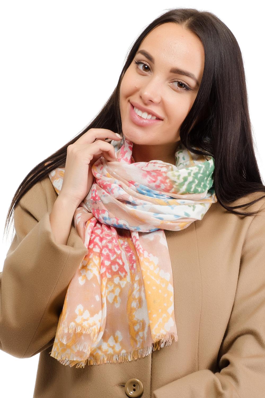 Палантин женский Moltini, цвет: оранжевый. 12T-1603. Размер 180 см х 70 см12T-1603Элегантный палантин Moltini изготовлен из модала с добавлением шерсти. Модель оформлена оригинальным орнаментом.