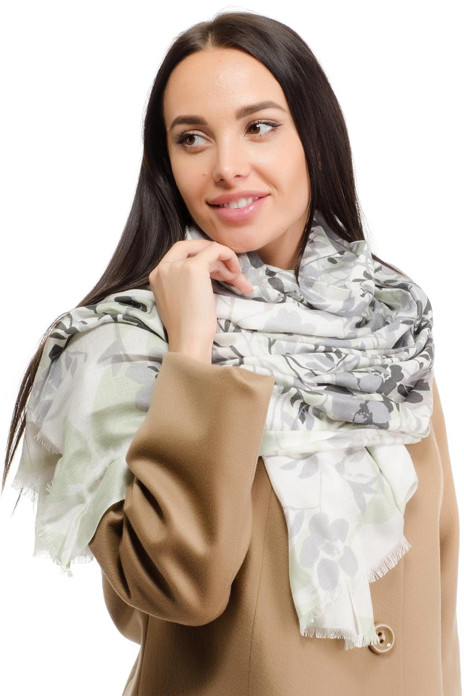 Палантин женский Moltini, цвет: серый, бежевый. 12K-1609. Размер 180 см х 70 см12K-1609Женский палантин Moltini изготовлен из модала с добавлением шерсти. Он оформлен оригинальным цветочным принтом и дополнен тонкой бахромой по краю.