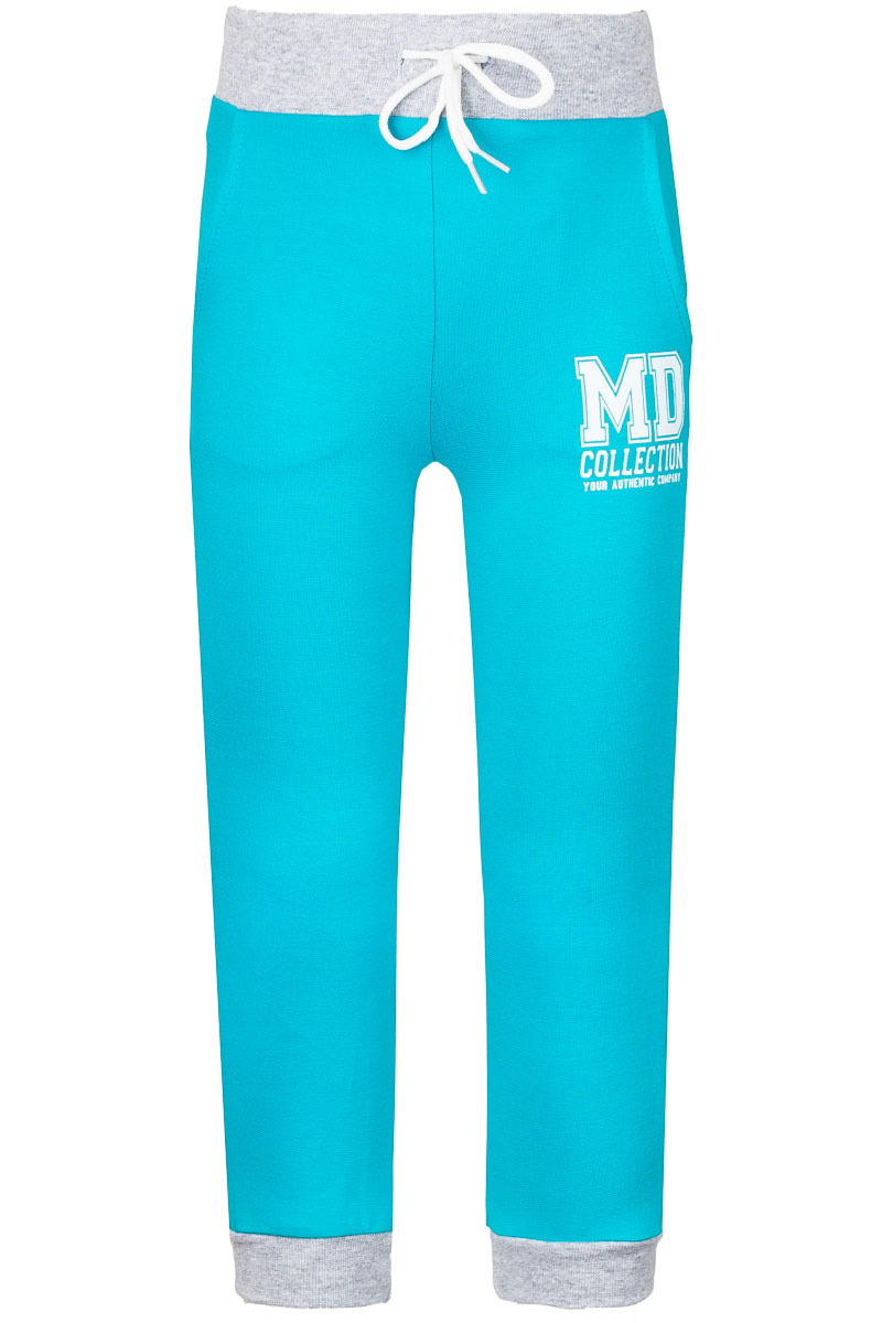 Брюки спортивные для девочки M&D, цвет: бирюзовый, серый меланж. WJJ26036M-28. Размер 122WJJ26036M-28Спортивные брюки для девочки M&D изготовлены из эластичного хлопка. Брюки на поясе имеют широкую резинку и утягивающий шнурок. Низ брючин дополнен трикотажными манжетами. Спереди предусмотрены два втачных кармана.
