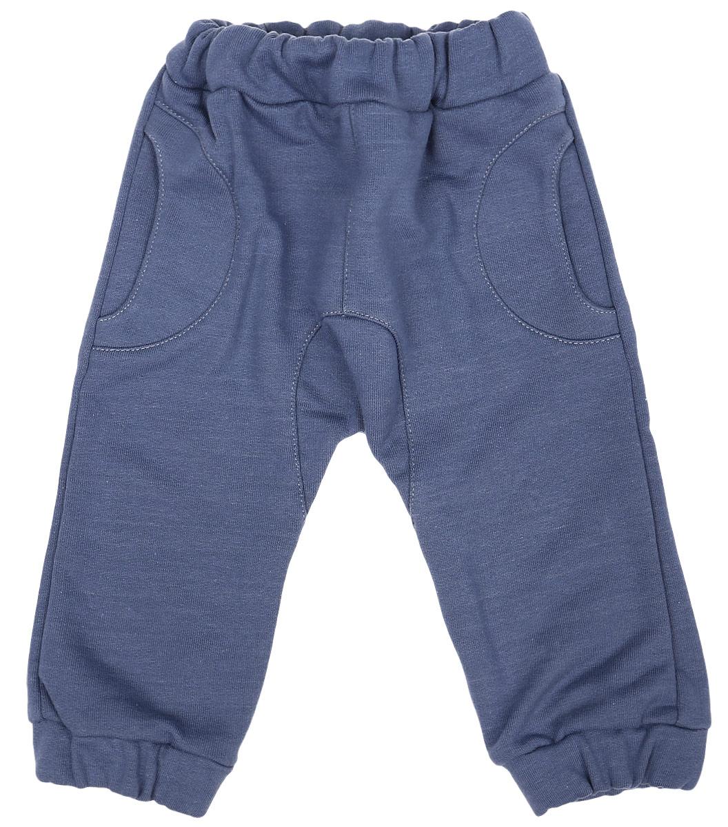 Штанишки для мальчика Клякса, цвет: серо-синий. 22-. Размер 6222-Штанишки для мальчика Клякса изготовлены из натурального хлопка. Изнаночная сторона модели с небольшими петельками. Штанишки имеют эластичный пояс. Низ брючин собран на резинки. Спереди расположены два втачных кармашка.
