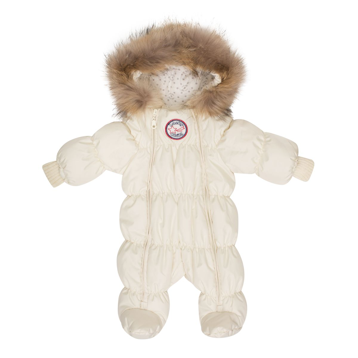 Комбинезон детский Lucky Child, цвет: молочный. В1-2. Размер 74В1-2Неважно, будет ли ваш кроха спать всю прогулку или пойдёт разглядывать снег, ему будет удобно в этом тёплом и лёгком комбинезоне. Сверху - качественная курточная ткань с влагостойкой пропиткой, внутри - наполнитель Isosoft и трикотажная подкладка с воздухопроницаемыми и водоотводными свойствами. Подходит для прогулок при температуре до -30°. Удобная двойная молния позволяет легко одеть и раздеть ребёнка или просто поменять подгузник и продолжить прогулку. Ручки младенца можно легко спрятать в отворачивающуюся «варежку». Капюшон оторочен натуральным мехом енота.