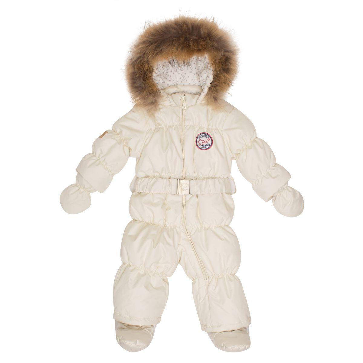 Комбинезон детский Lucky Child, цвет: молочный. В1-3. Размер 68В1-3Этой зимой вашему малышу предстоит впервые увидеть снег? Подберите для этого важного знакомства удобный и тёплый комбинезон Lucky Child! Он выполнен из курточной ткани с влагостойкой пропиткой, а значит, не промокнет, даже если Ваша кроха, знакомясь со снегом, решит нырнуть в сугроб. Наполнитель - лёгкий и тёплый Isosoft, который позволит ребёнку не мёрзнуть при температуре до -30°и при этом вести активную деятельность во время прогулки. Трикотажная подкладка (кулирка) обладает воздухопроницаемыми и водоотводными свойствами, что очень важно, если малыш вспотеет. Капюшон оторочен натуральным мехом енота. Ножки и ручки малыша утеплят отстёгивающиеся варежки и сапожки.
