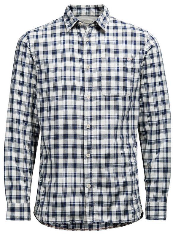 Рубашка мужская Jack & Jones, цвет: темно-синий, белый. 12107981. Размер XXL (52)12107981_Cloud DancerМужская рубашка Jack & Jones выполнена из натурального хлопка. Рубашкас длинными рукавами и отложным воротником застегивается на пуговицы спереди. Манжеты рукавов также застегиваются на пуговицы. Рубашка оформлена принтом в клетку. На груди расположен накладной карман.