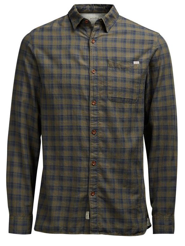 Рубашка мужская Jack & Jones, цвет: темно-синий, оливковый. 12107981. Размер M (46)12107981_Olive NightМужская рубашка Jack & Jones выполнена из натурального хлопка. Рубашкас длинными рукавами и отложным воротником застегивается на пуговицы спереди. Манжеты рукавов также застегиваются на пуговицы. Рубашка оформлена принтом в клетку. На груди расположен накладной карман.