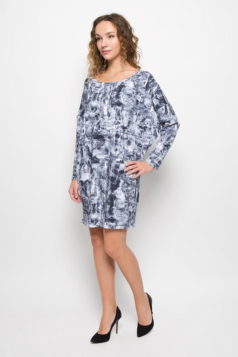 Платье Diesel, цвет: серо-синий, белый. 00STUD-0IAMA/100. Размер XL (52)00STUD-0IAMA/100Стильное платье модной расцветки выполнено из высококачественного хлопка. Платье с круглым вырезом горловины и длинными рукавами. Верх модели свободный, горловина дополнена трикотажной резинкой.