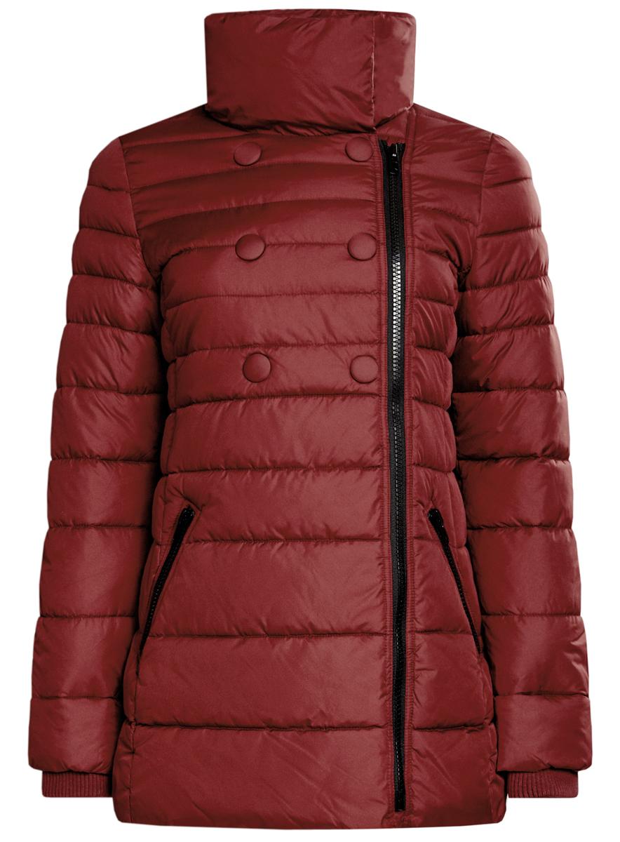 Куртка женская oodji Ultra, цвет: терракотовый. 10201032-2/32754/4900N. Размер 40 (46-170)10201032-2/32754/4900NЖенская куртка oodji Ultra выполнена из 100% полиэстера. В качестве подкладки и утеплителя также используется полиэстер. Модель с воротником-стойкой застегивается на асимметричную застежку-молнию и дополнительно на кнопки. Низ рукавов дополнен внутренними эластичными манжетами. Спереди расположено два прорезных кармана на застежках-молниях.