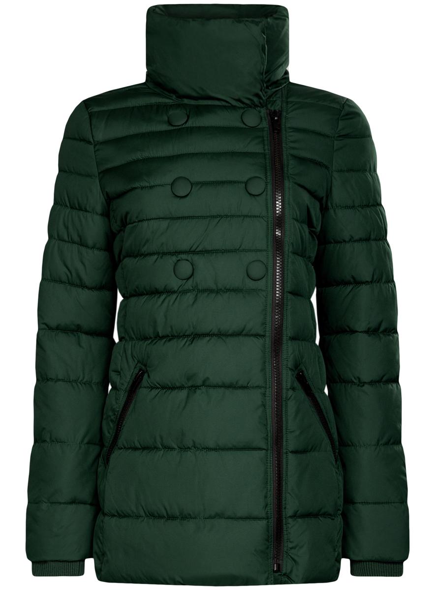 Куртка женская oodji Ultra, цвет: темно-зеленый. 10201032-2/32754/6900N. Размер 40 (46-170)10201032-2/32754/6900NЖенская куртка oodji Ultra выполнена из 100% полиэстера. В качестве подкладки и утеплителя также используется полиэстер. Модель с воротником-стойкой застегивается на асимметричную застежку-молнию и дополнительно на кнопки. Низ рукавов дополнен внутренними эластичными манжетами. Спереди расположено два прорезных кармана на застежках-молниях.