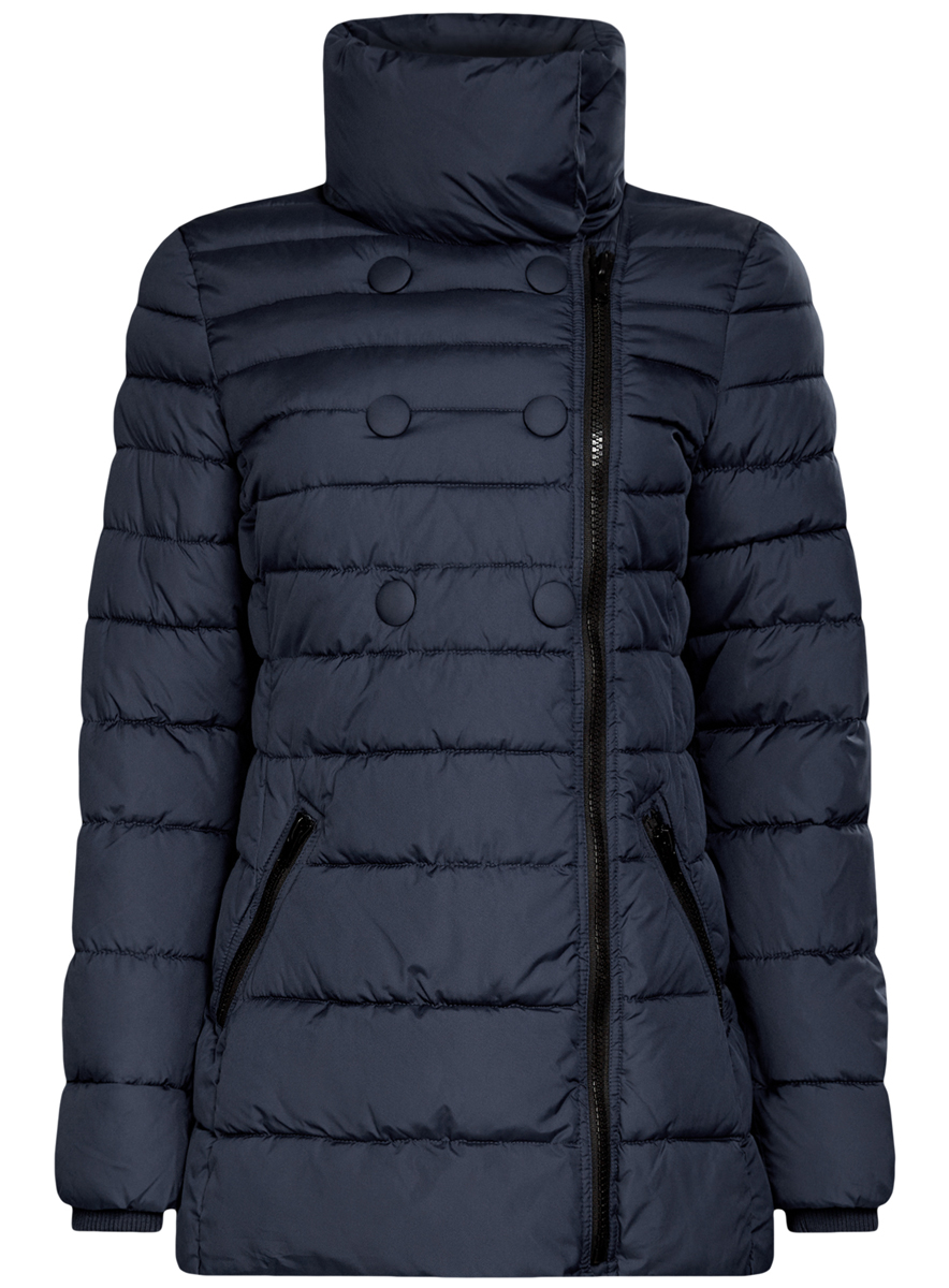 Куртка женская oodji Ultra, цвет: темно-синий. 10201032-2/32754/7900N. Размер 34 (40-170)10201032-2/32754/7900NЖенская куртка oodji Ultra выполнена из 100% полиэстера. В качестве подкладки и утеплителя также используется полиэстер. Модель с воротником-стойкой застегивается на асимметричную застежку-молнию и дополнительно на кнопки. Низ рукавов дополнен внутренними эластичными манжетами. Спереди расположено два прорезных кармана на застежках-молниях.
