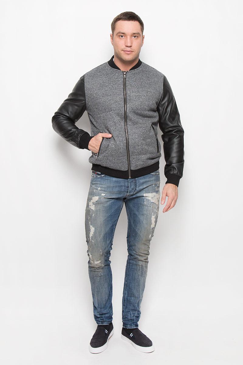 Куртка мужская Mexx, цвет: серый, черный. MX3025344_MN_JCK_008. Размер S (48)MX3025344_MN_JCK_008_025Стильная мужская куртка Mexx подчеркнет вашу индивидуальность. Куртка изготовлена из шерсти и полиэстера, рукава из 100% полиуретана и утеплена синтепоном.Модель с трикотажным воротником-стойкой застегивается на металлическую застежку-молнию.Куртка дополнена двумя врезными карманами на застежках-молниях. Манжеты рукавов дополнены широкими резинками.