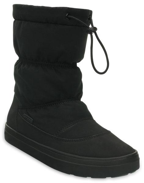 Дутики женские Crocs LodgePoint Pull-on Boot, цвет: черный. 203422-001. Размер 7 (37)203422-001Легкие универсальные сапоги LodgePoint Pull-on Boot от Crocs подойдут на каждый день. Верх выполнен из водоотталкивающего нейлона, голенище дополнено шнурком с фиксатором. Подошва Croslite улучшает сцепление и увеличивает срок службы обуви.