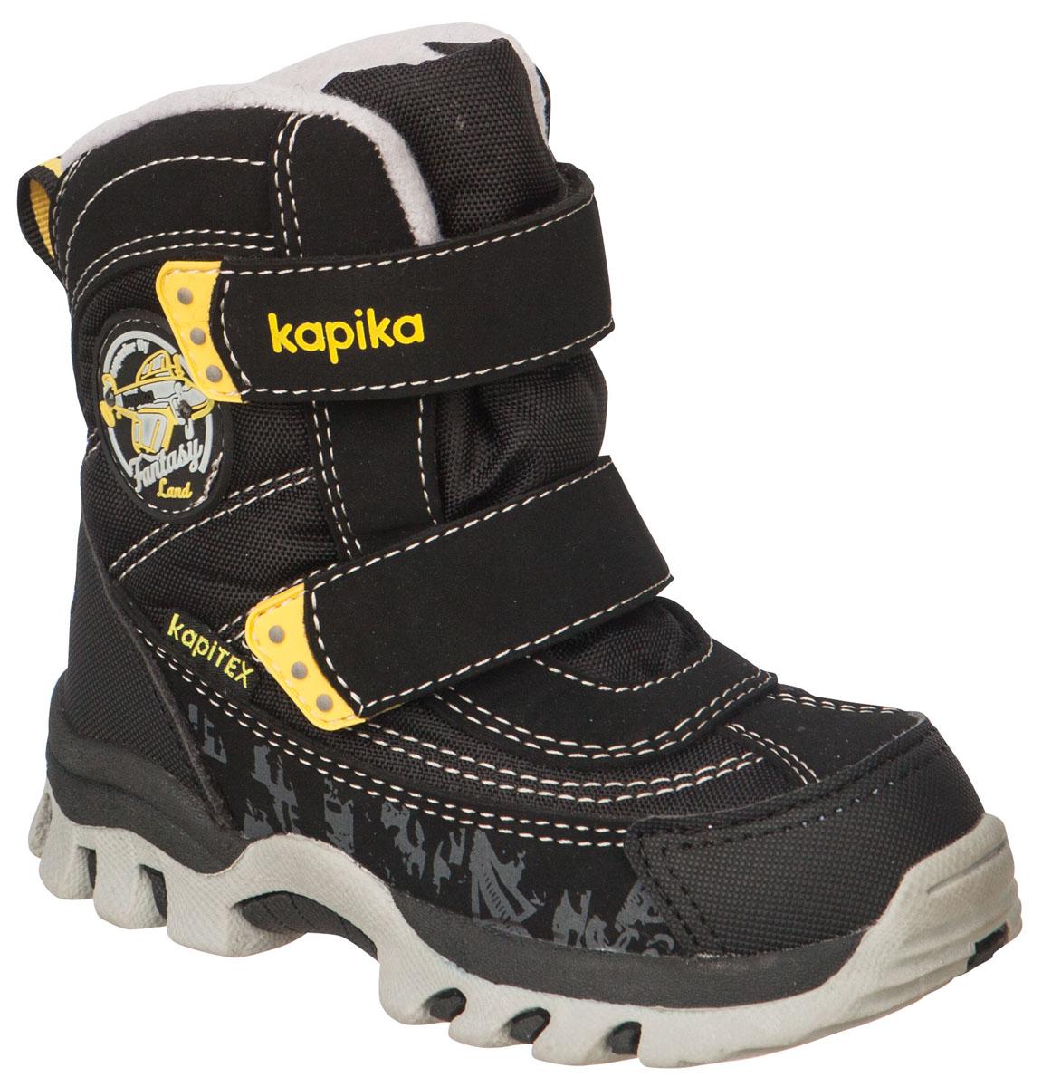 Ботинки для мальчика Kapika, цвет: черный, желтый. 41175-1. Размер 2741175-1Легкие, удобные и теплые ботинки от Kapika выполнены из мембранных материалов и искусственной кожи. Два ремешка на застежках-липучках надежно фиксируют изделие на ноге. Мягкая подкладка и стелька из шерсти обеспечивают тепло, циркуляцию воздуха и сохраняют комфортный микроклимат в обуви. Подошва с протектором гарантирует идеальное сцепление с любыми поверхностями.Идеальная зимняя обувь для активных детей.