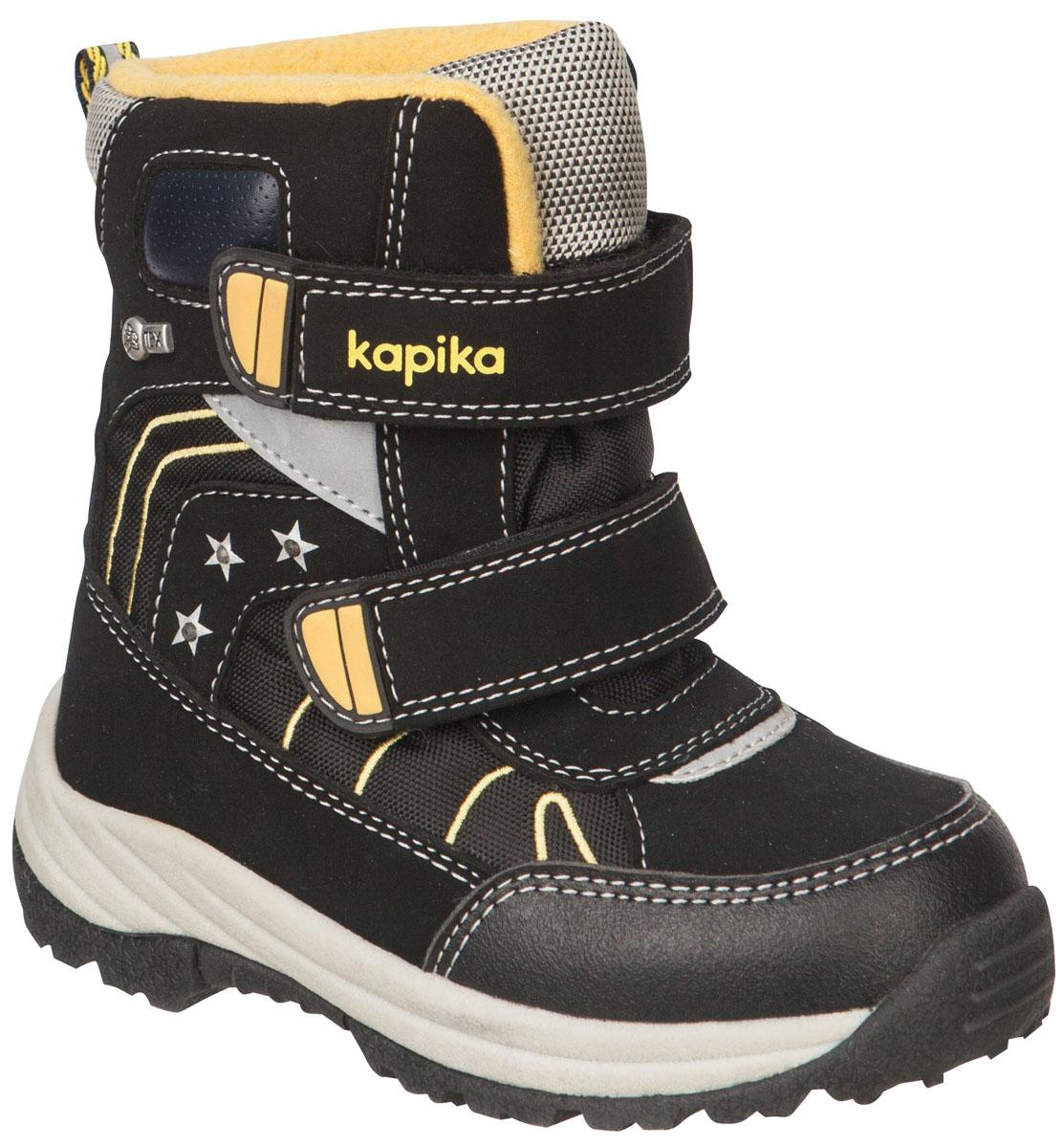 Ботинки для мальчика Kapika, цвет: черный, желтый. 41149-1. Размер 2741149-1Легкие, удобные и теплые ботинки от Kapika выполнены из мембранных материалов и искусственной кожи. Два ремешка на застежках-липучках надежно фиксируют изделие на ноге. Мягкая подкладка и стелька из шерсти обеспечивают тепло, циркуляцию воздуха и сохраняют комфортный микроклимат в обуви. Подошва с протектором гарантирует идеальное сцепление с любыми поверхностями.Идеальная зимняя обувь для активных детей и подростков.